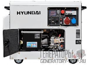 [6 кВт] Hyundai DHY 8000SE-3 дизельный генератор в кожухе с колесами трехфазный