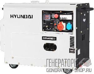 [5 кВт] Hyundai DHY 6000SE-3 дизельный генератор в кожухе с колесами трехфазный